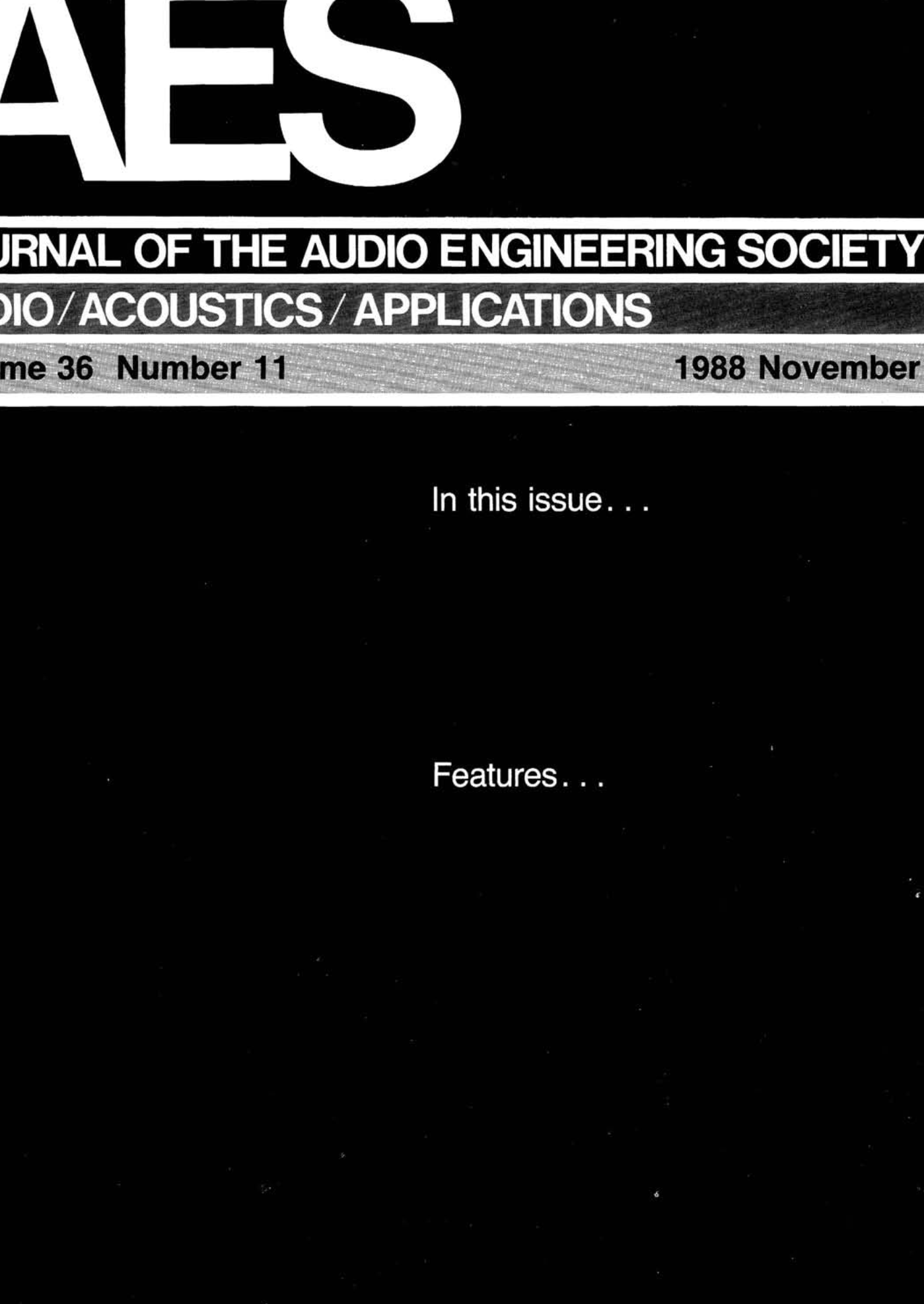 AES E-Library » Complete Journal: Volume 36 Issue 11