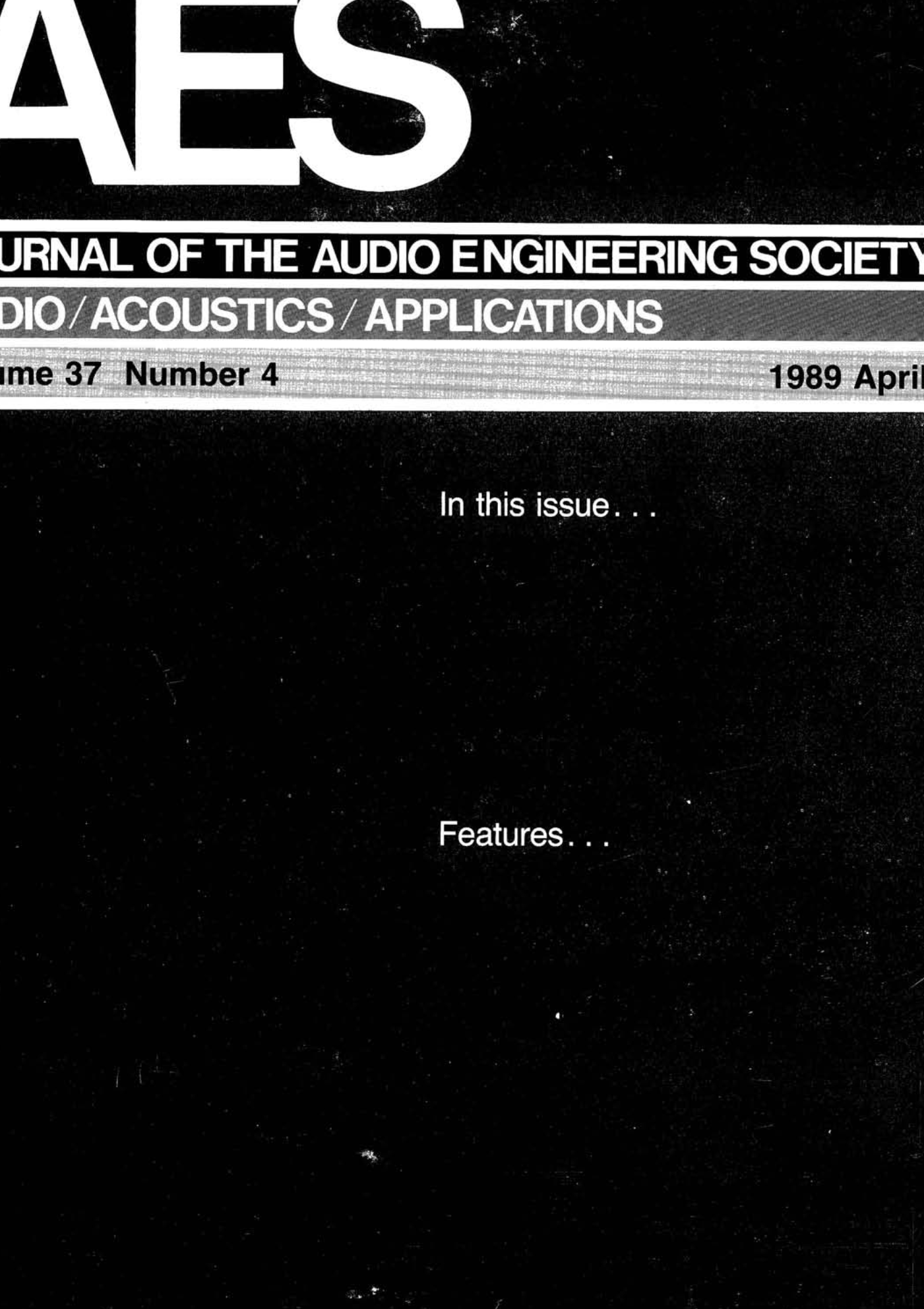 AES E-Library » Complete Journal: Volume 37 Issue 4