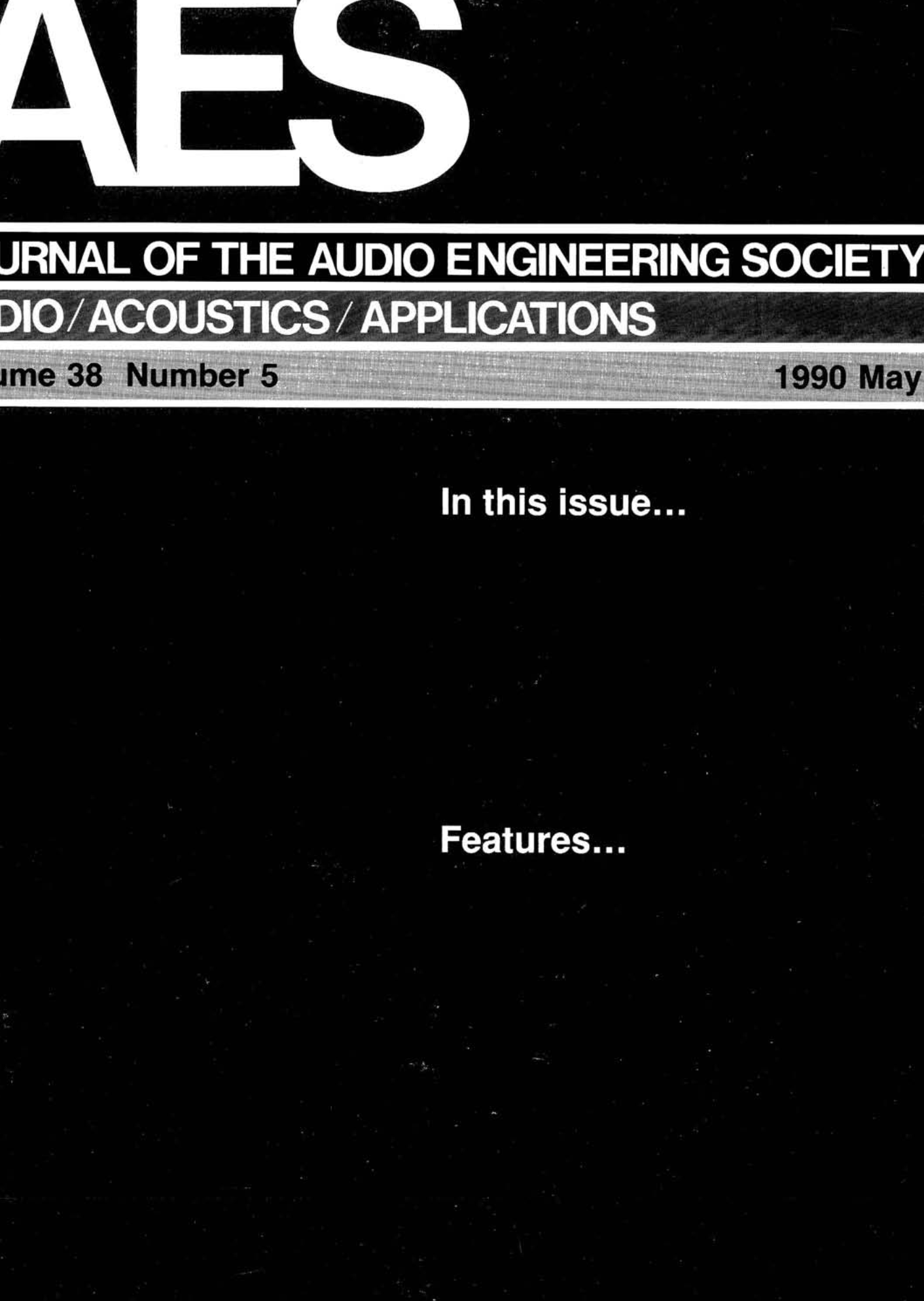 AES E Library Plete Journal Volume 38 Issue 5