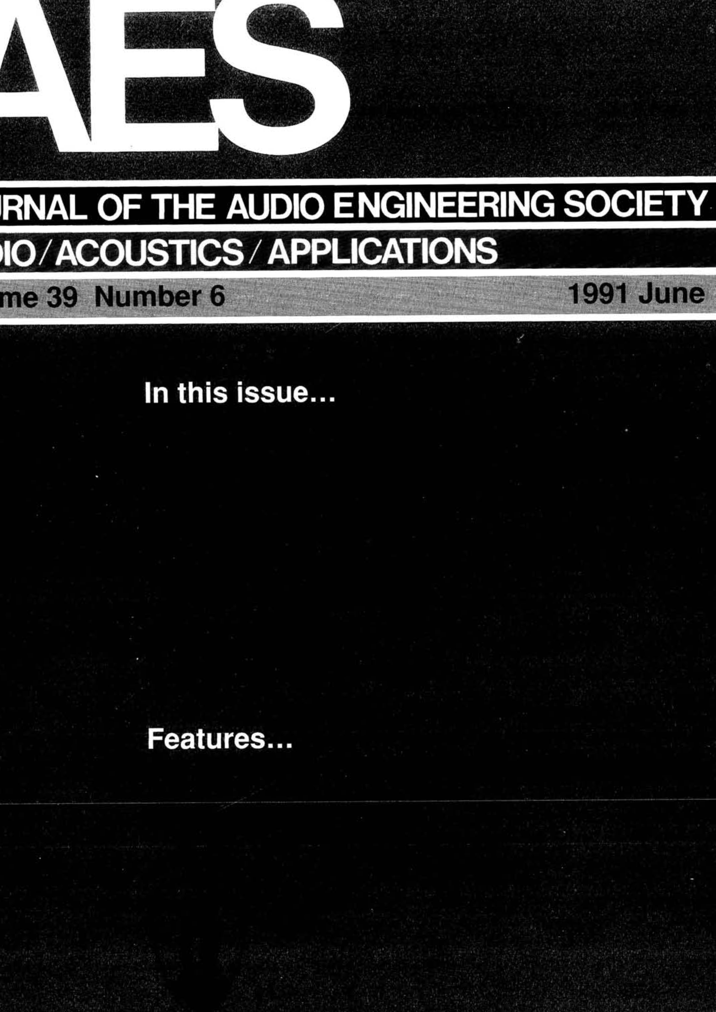 AES E-Library » Complete Journal: Volume 39 Issue 6