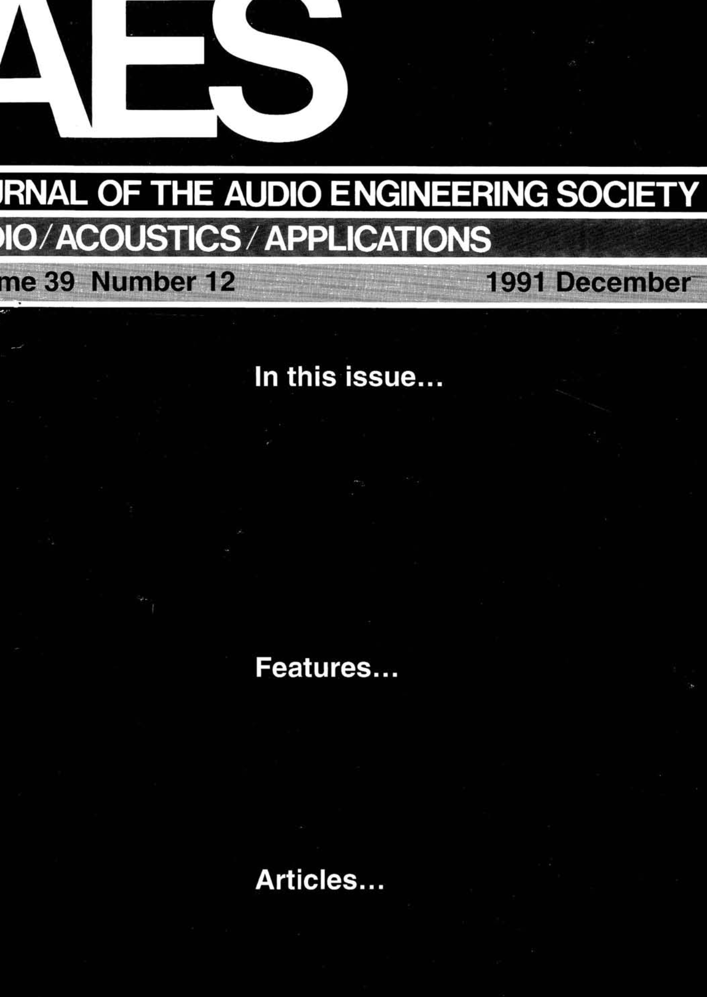 AES E-Library » Complete Journal: Volume 39 Issue 12
