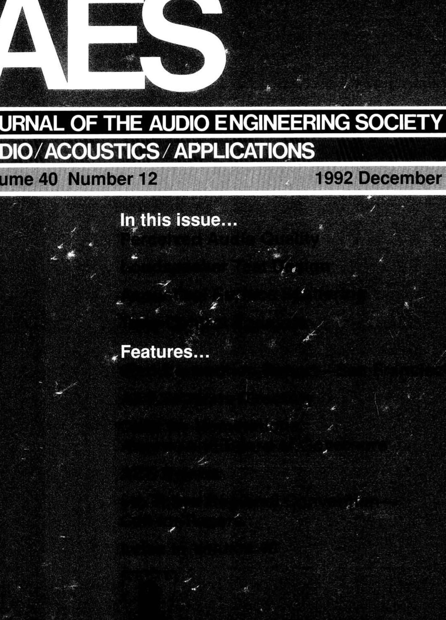 AES E-Library » Complete Journal: Volume 40 Issue 12