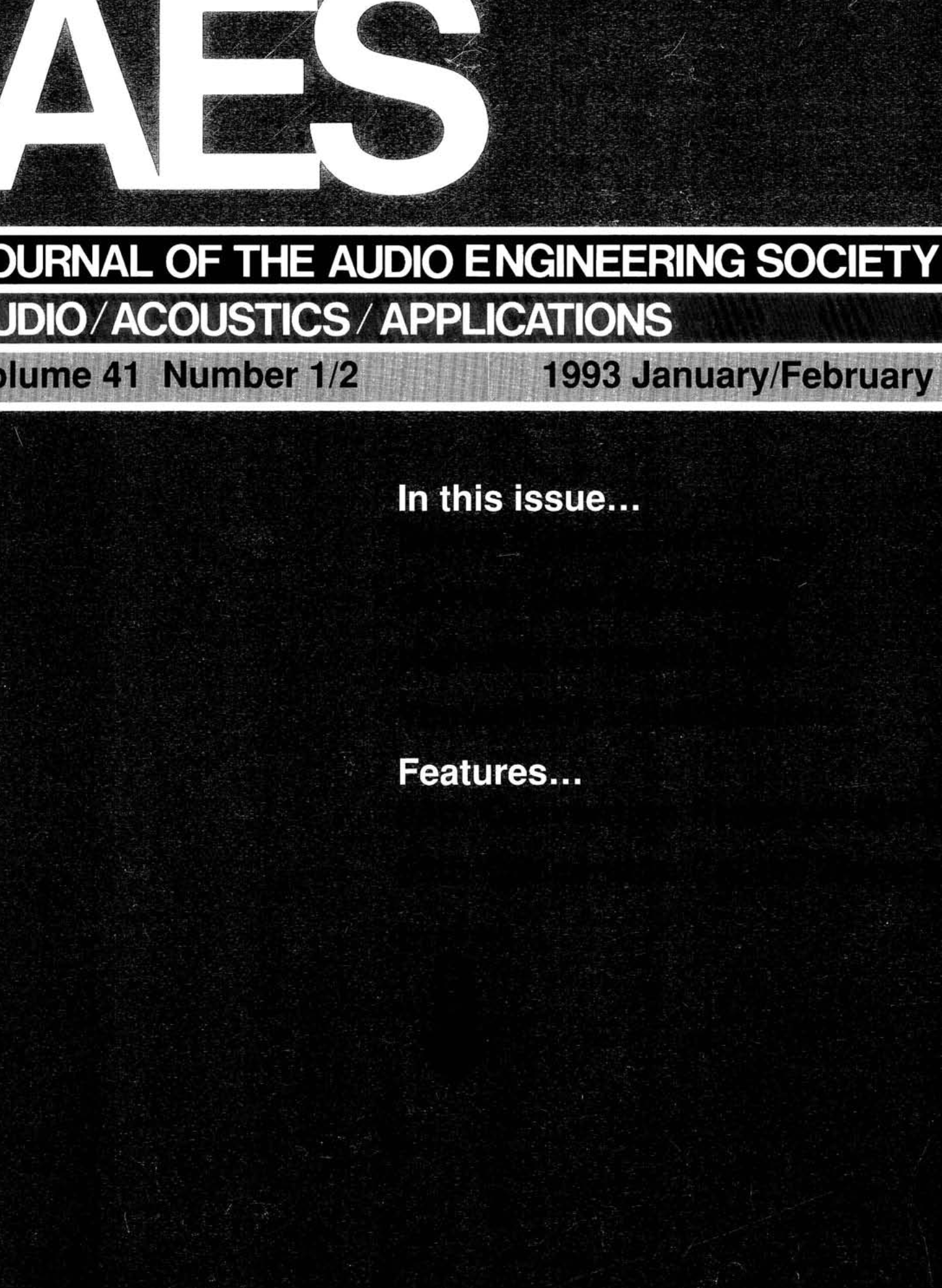 AES E-Library » Complete Journal: Volume 41 Issue 1/2