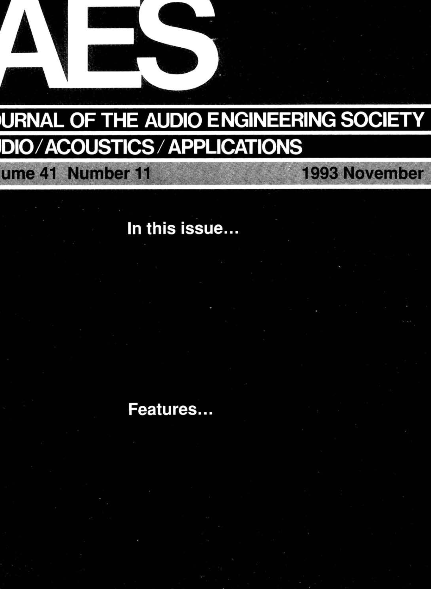 AES E-Library » Complete Journal: Volume 41 Issue 11