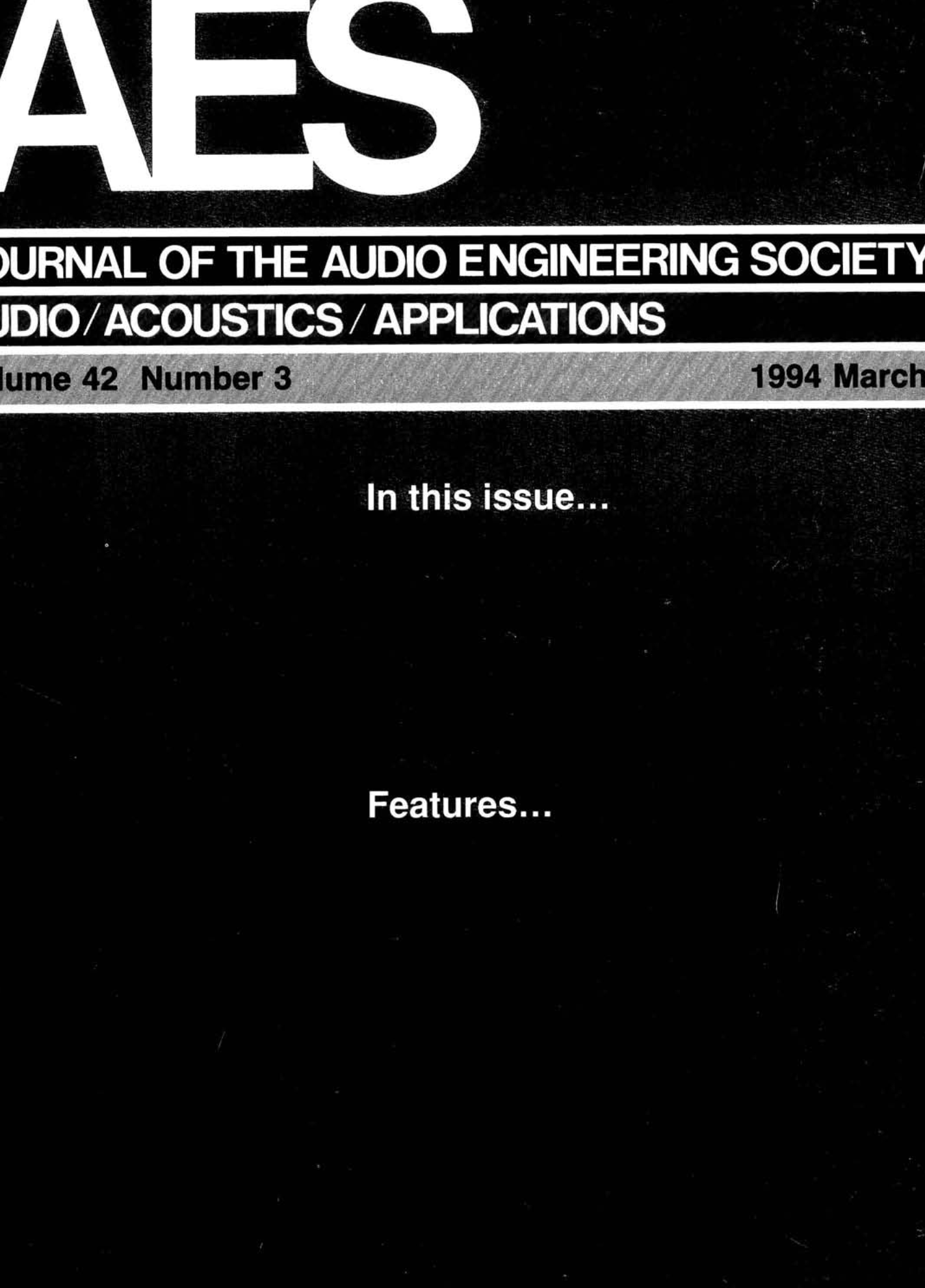 AES E-Library » Complete Journal: Volume 42 Issue 3