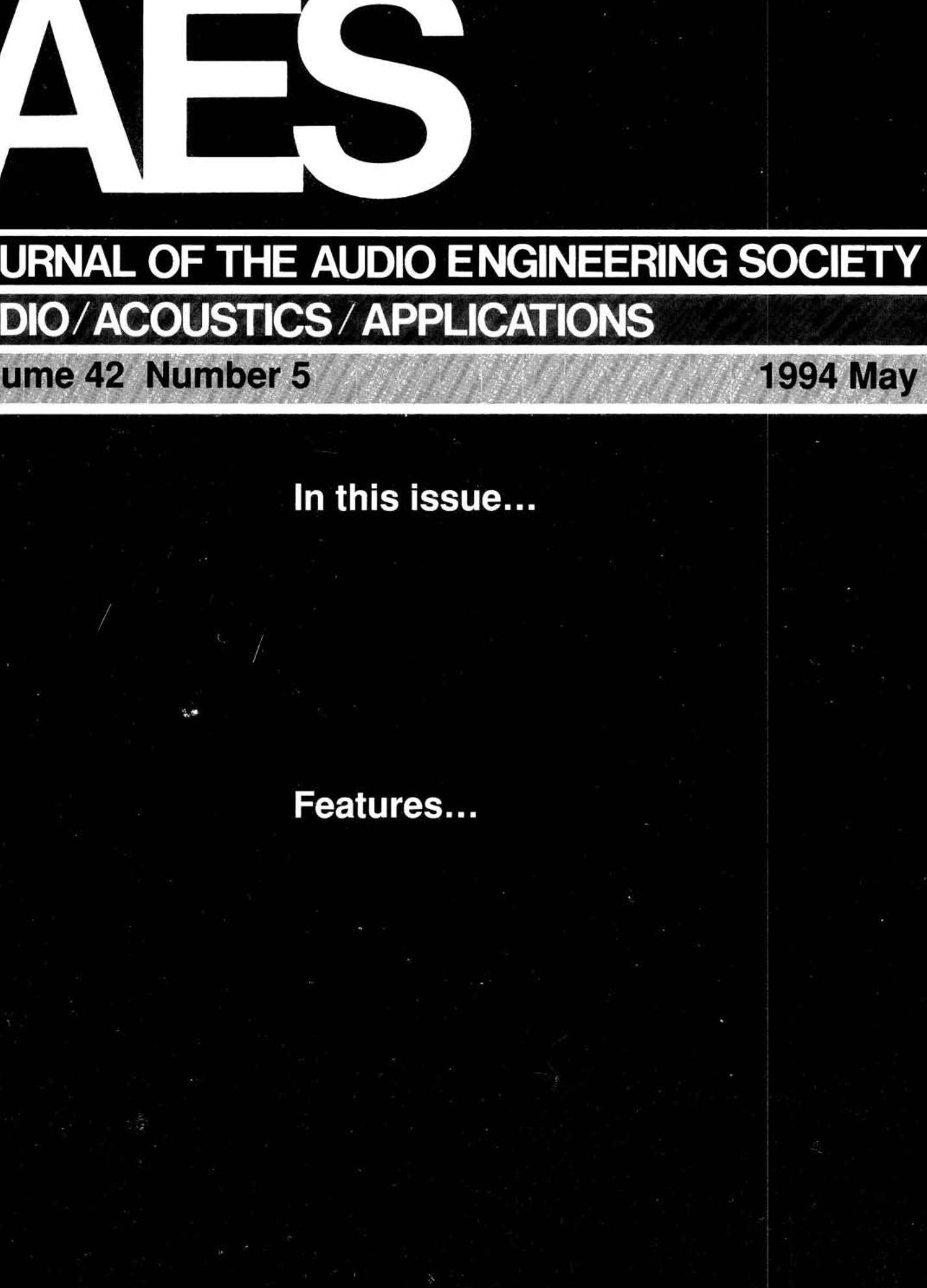 AES E-Library » Complete Journal: Volume 42 Issue 5