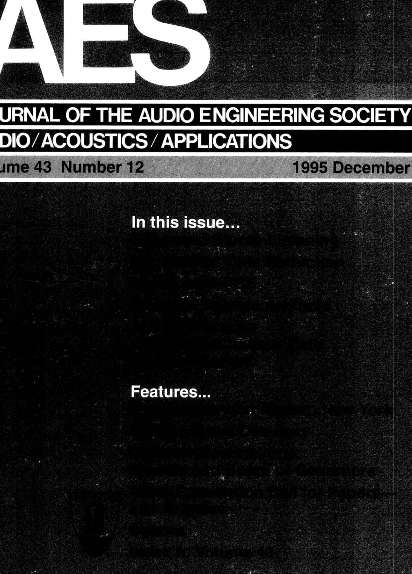 AES E-Library » Complete Journal: Volume 43 Issue 12