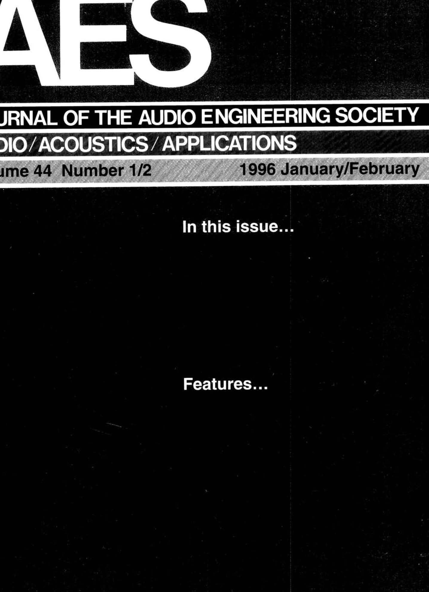 AES E-Library » Complete Journal: Volume 44 Issue 1/2