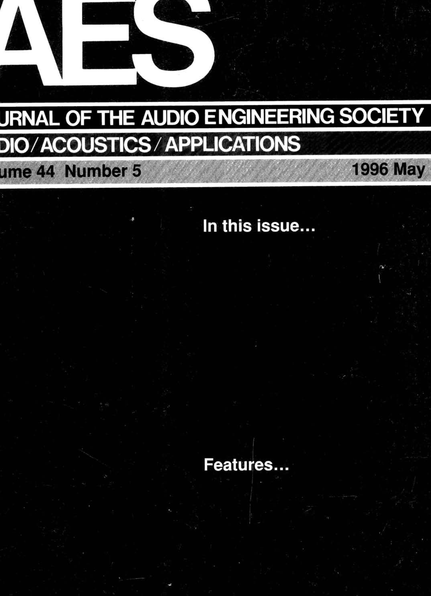 AES E-Library » Complete Journal: Volume 44 Issue 5