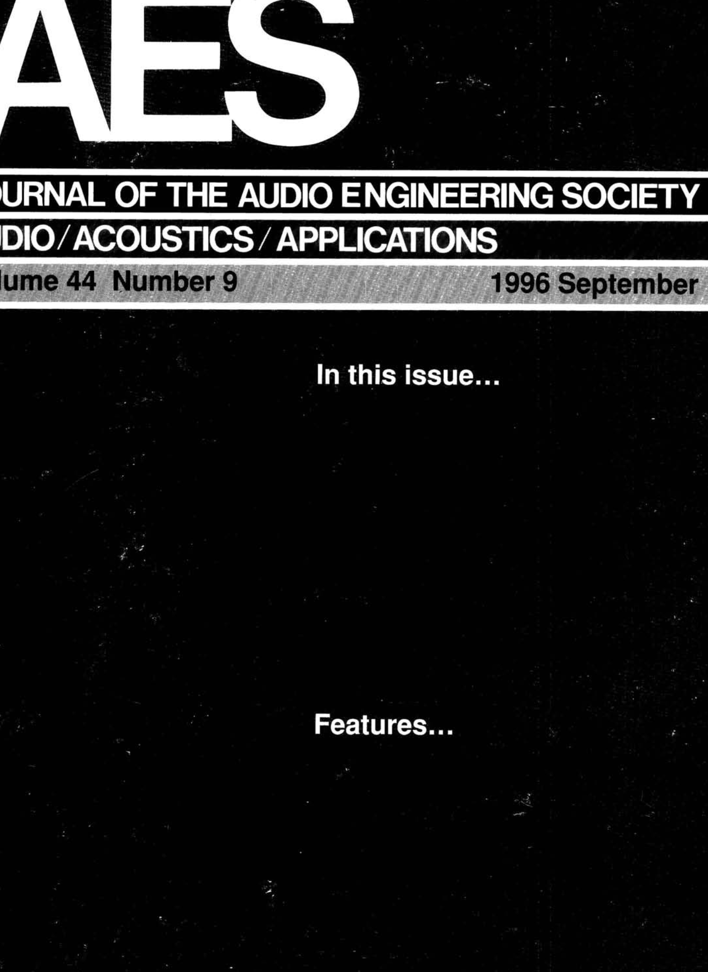 AES E-Library » Complete Journal: Volume 44 Issue 9