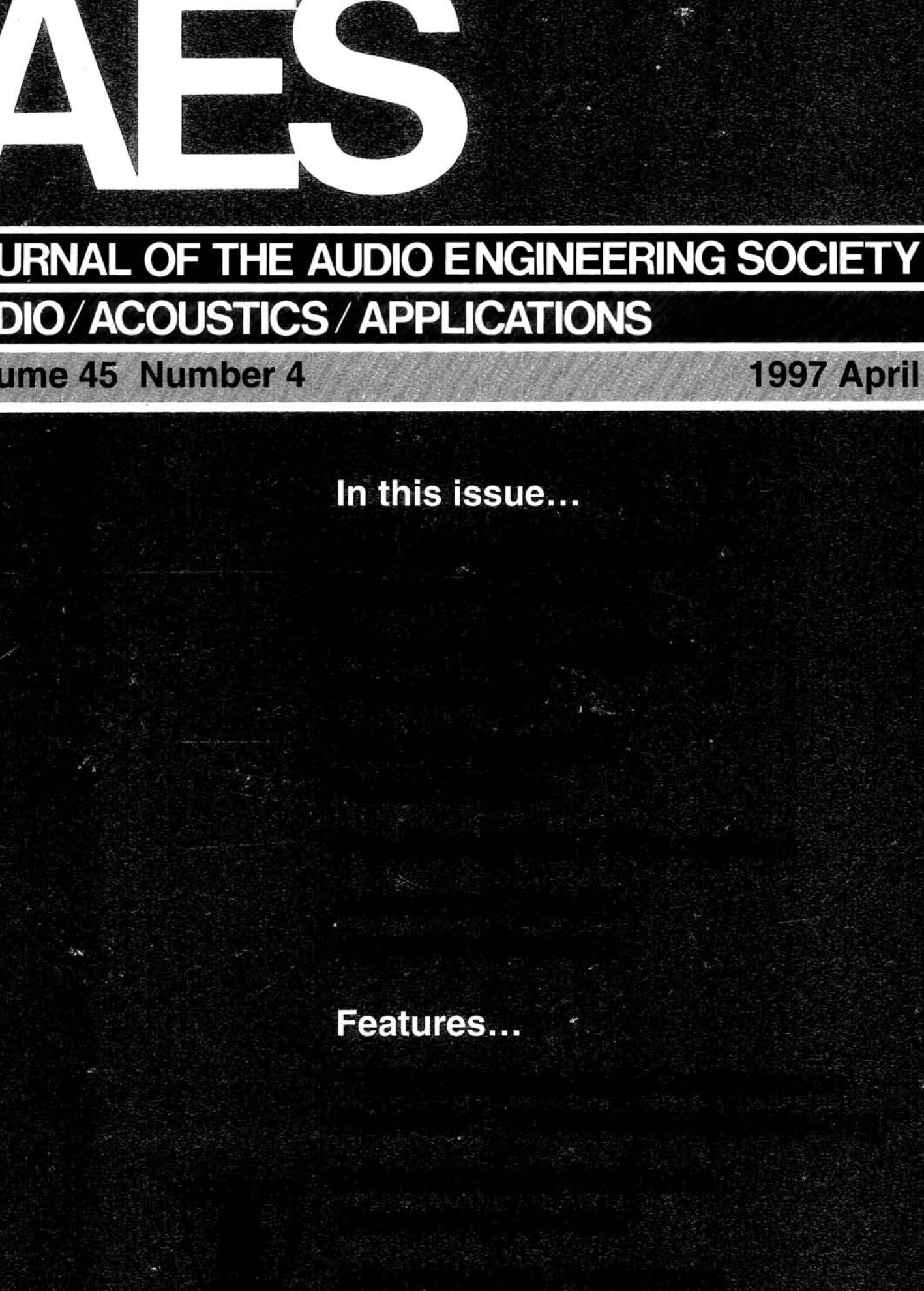 3bdbb700f8fd AES E-Library » Complete Journal  Volume 45 Issue 4