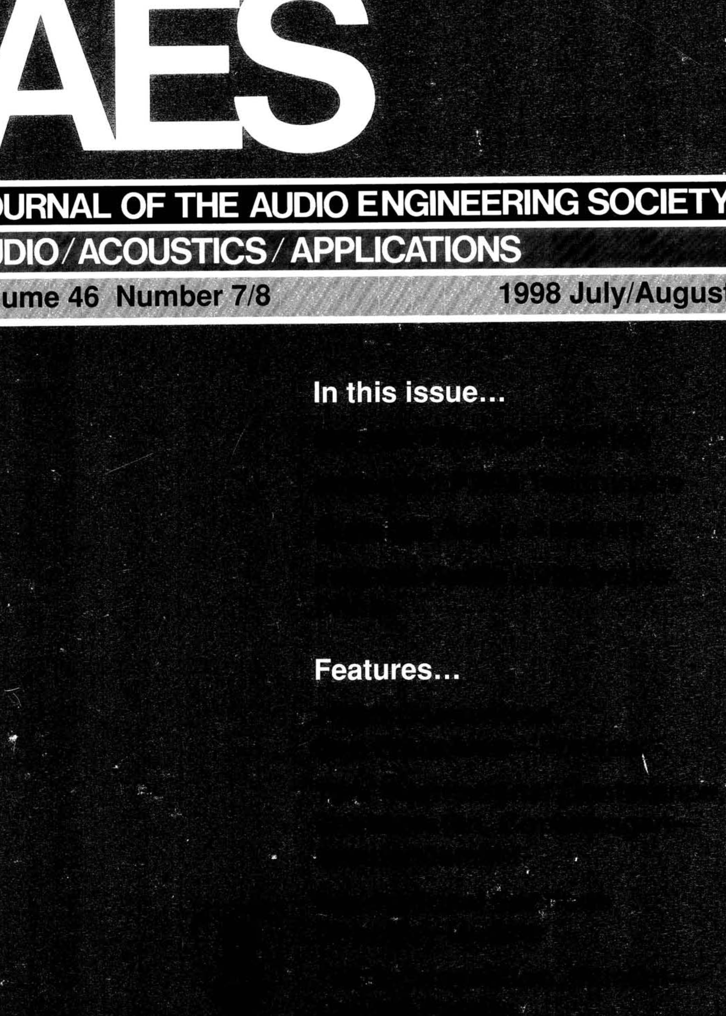 AES E-Library » Complete Journal: Volume 46 Issue 7/8