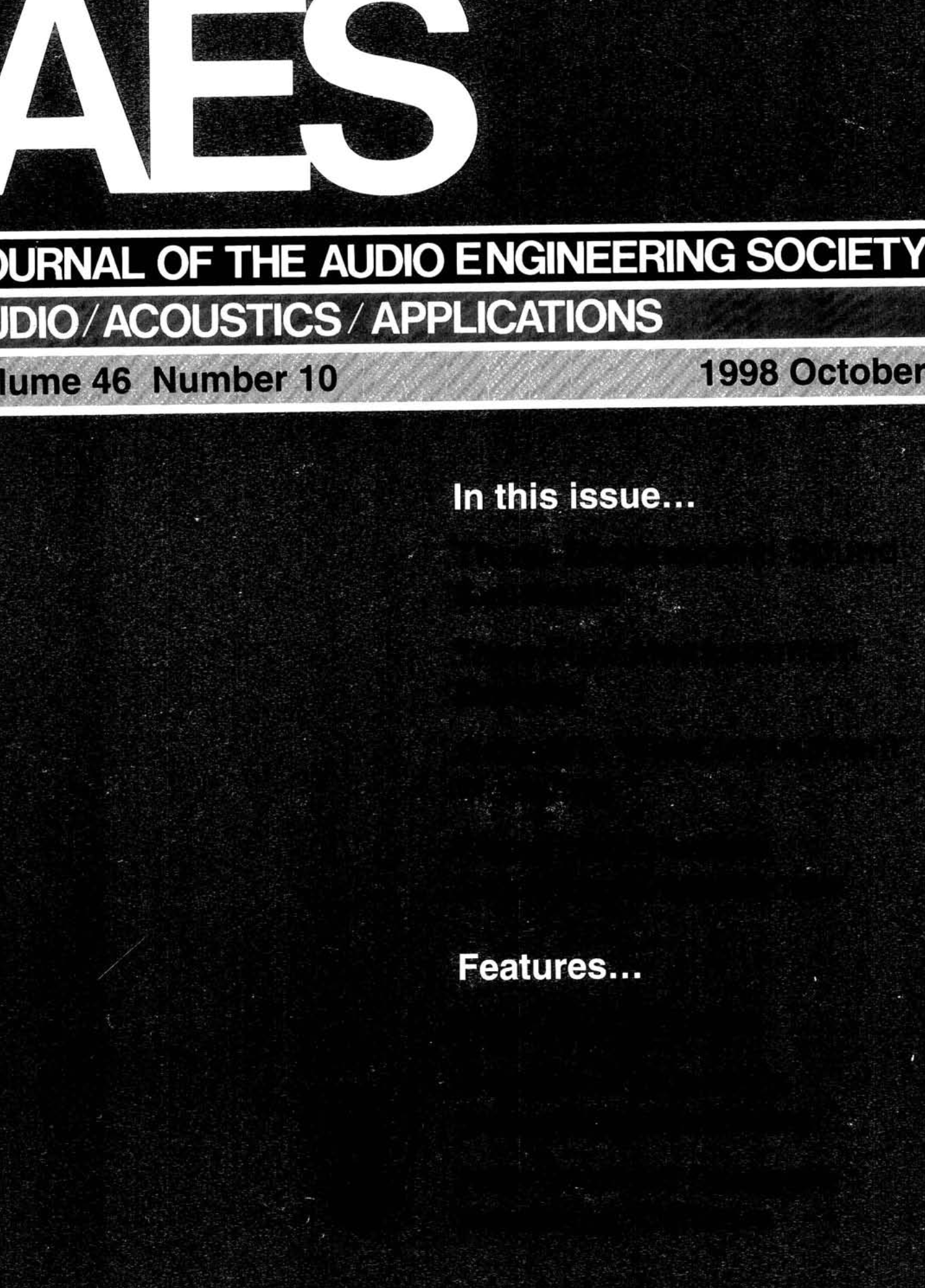 AES E-Library » Complete Journal: Volume 46 Issue 10