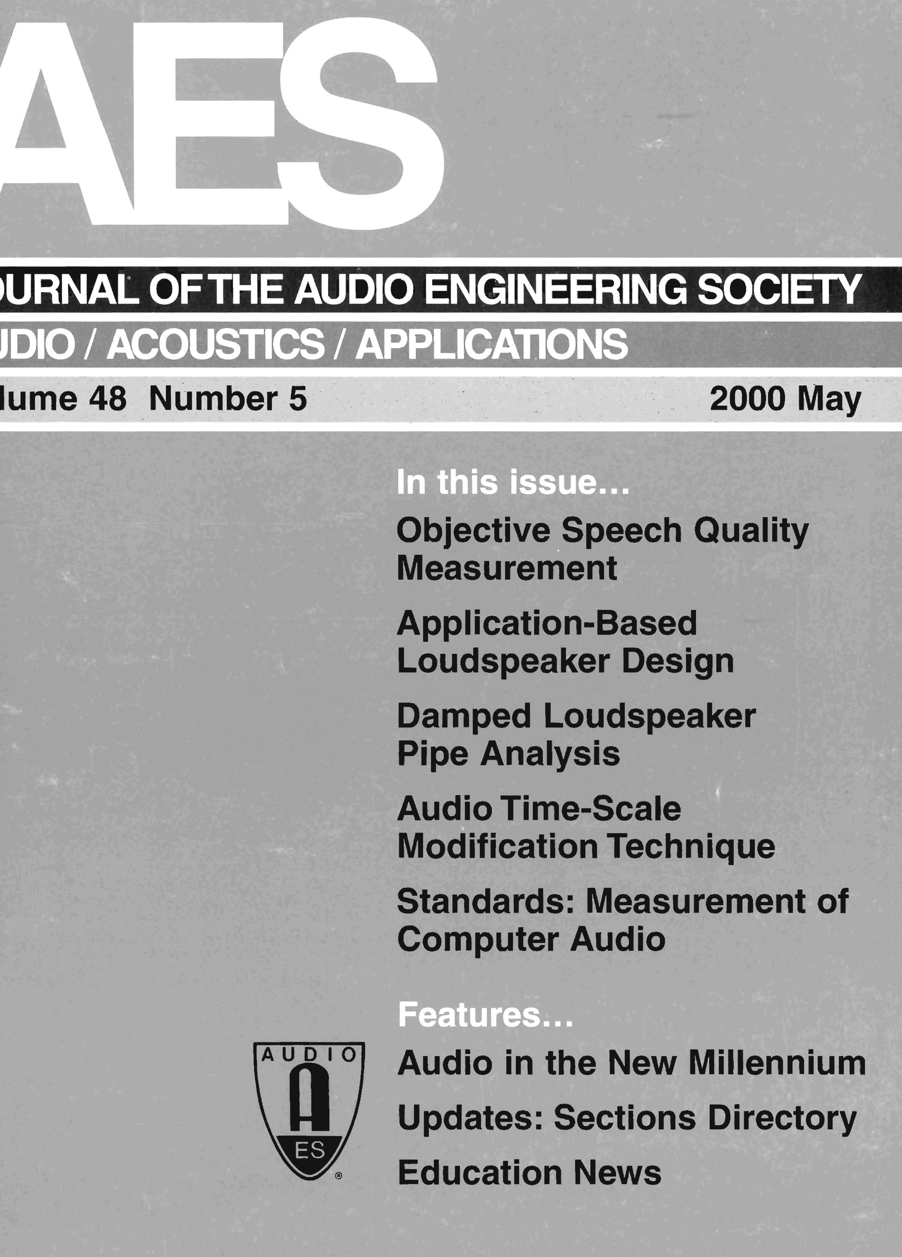 AES E-Library » Complete Journal: Volume 48 Issue 5