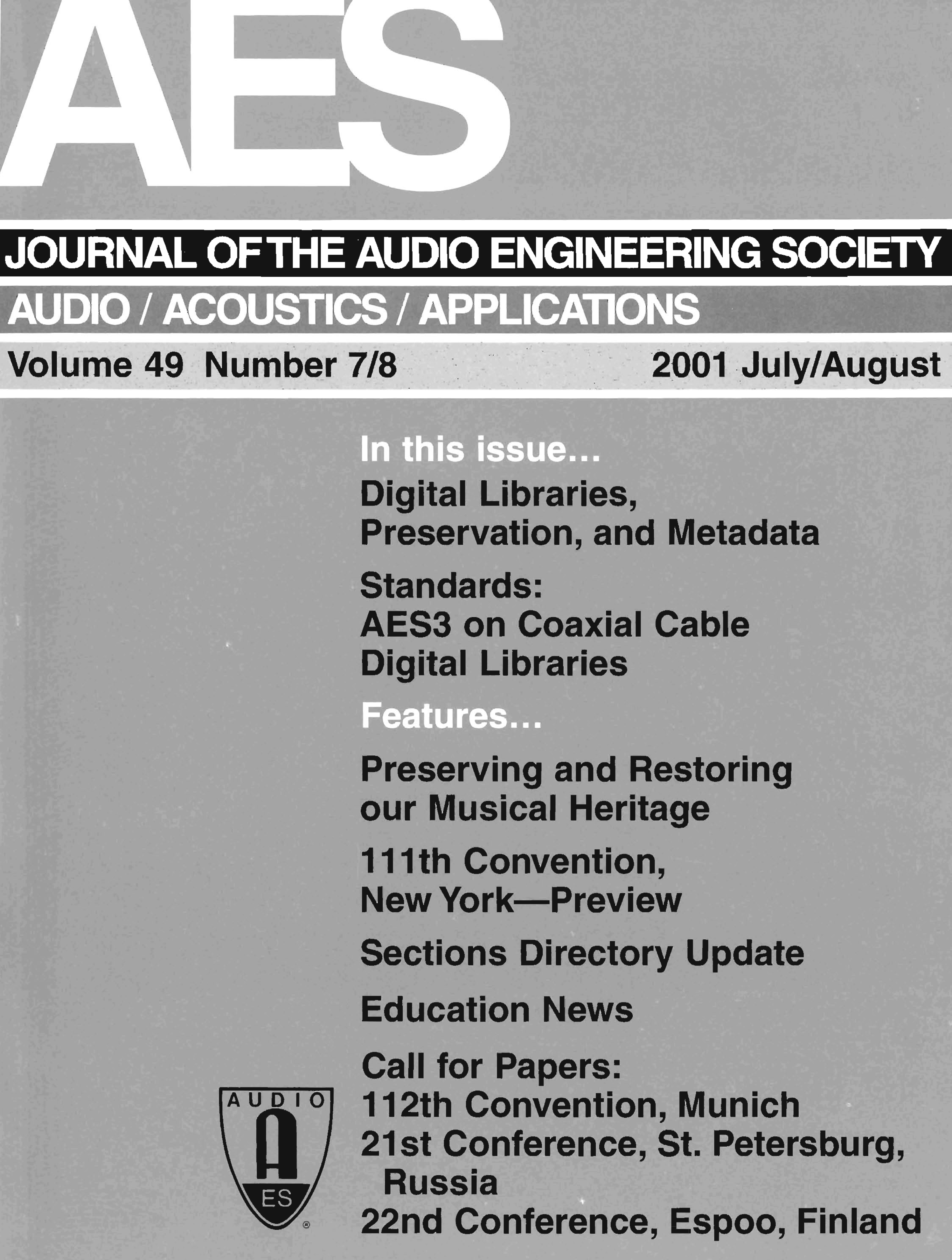 Aes E Library Complete Journal Volume 49 Issue 78