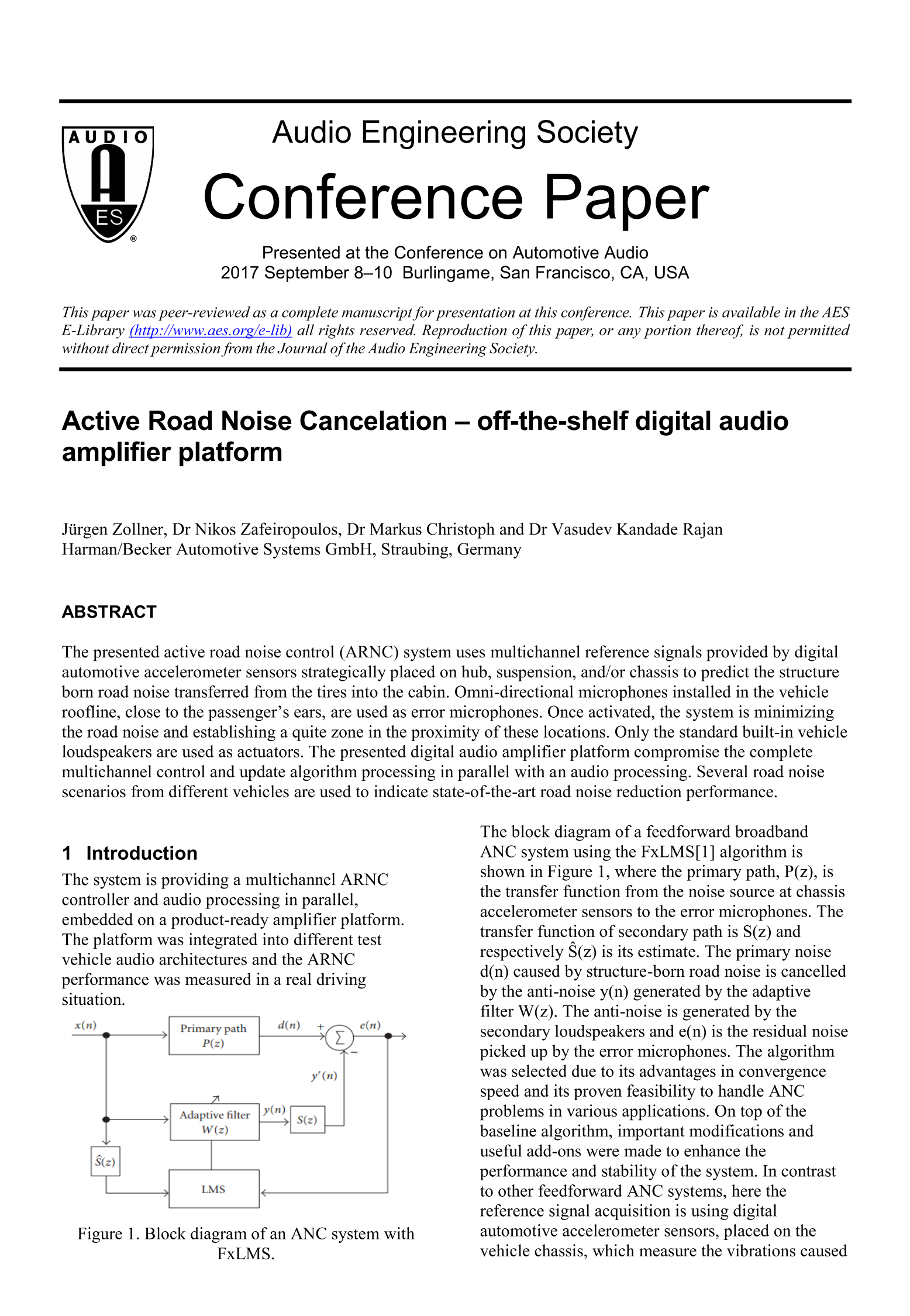 AES E-Library » Active Road Noise Cancelation—Off-the-Shelf Digital