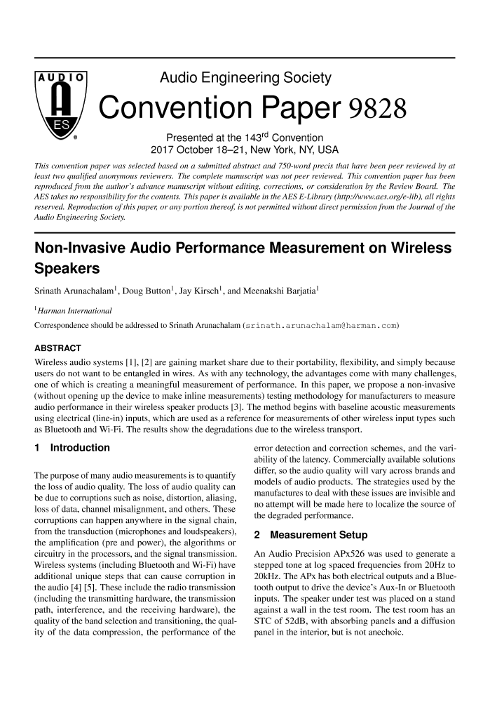 AES E-Library » Non-Invasive Audio Performance Measurement on