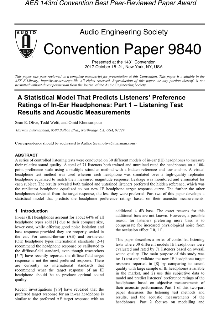 AES E-Library » A Statistical Model that Predicts Listeners
