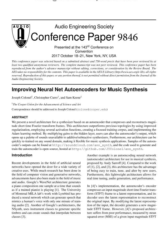 AES E-Library » Improving Neural Net Auto Encoders for Music