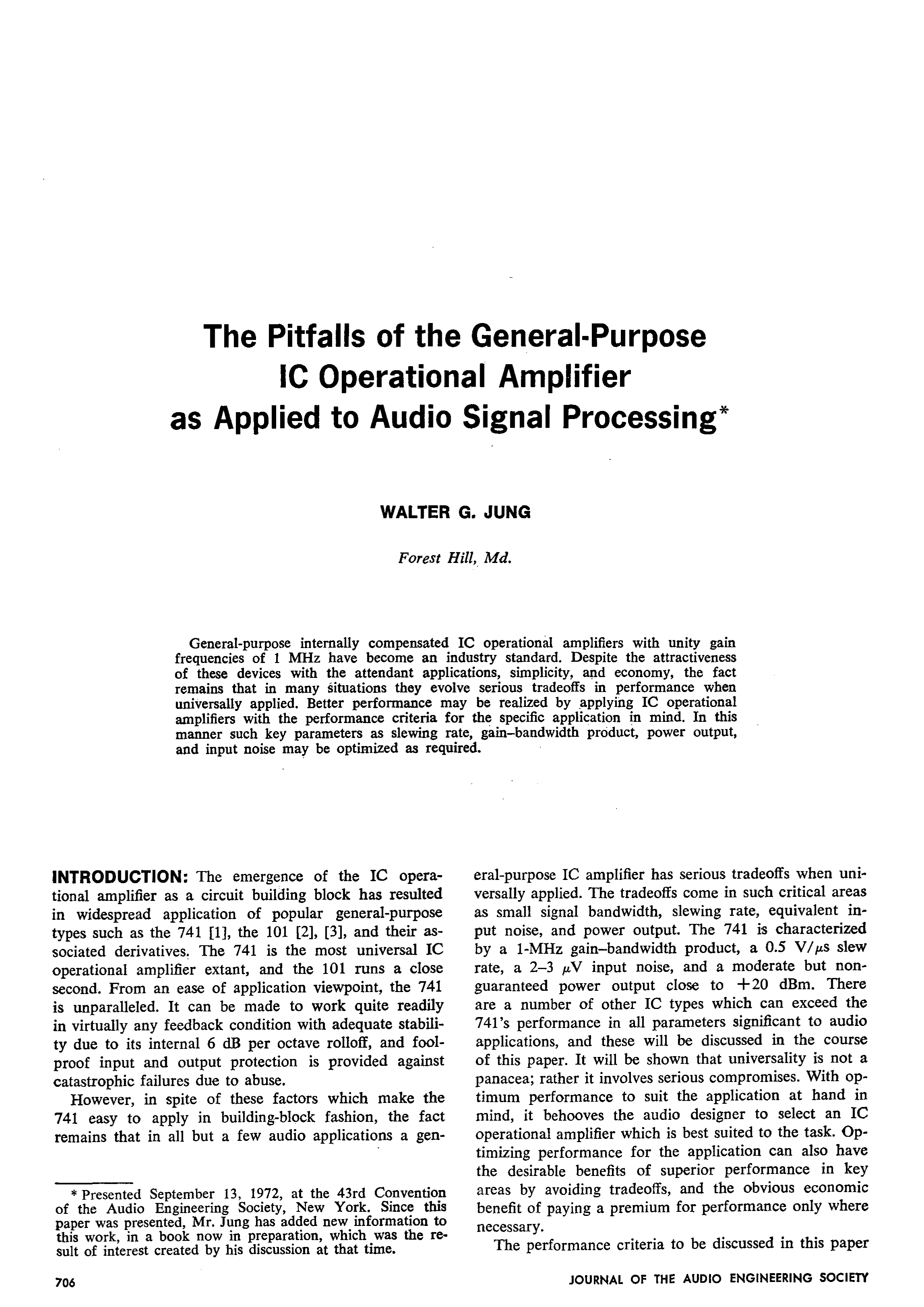 Aes E Library The Pitfalls Of General Purpose Ic Operational Audio Line High End Preamplifier With Ics Amplifier As Applied To Signal Processing