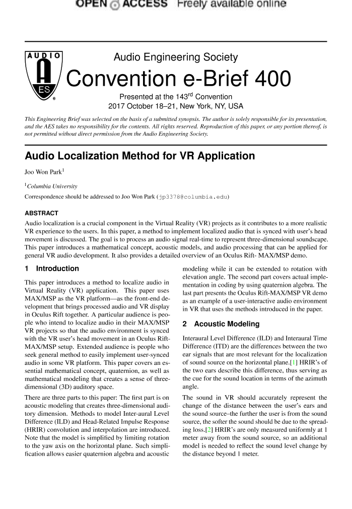 AES E-Library » Audio Localization Method for VR Application