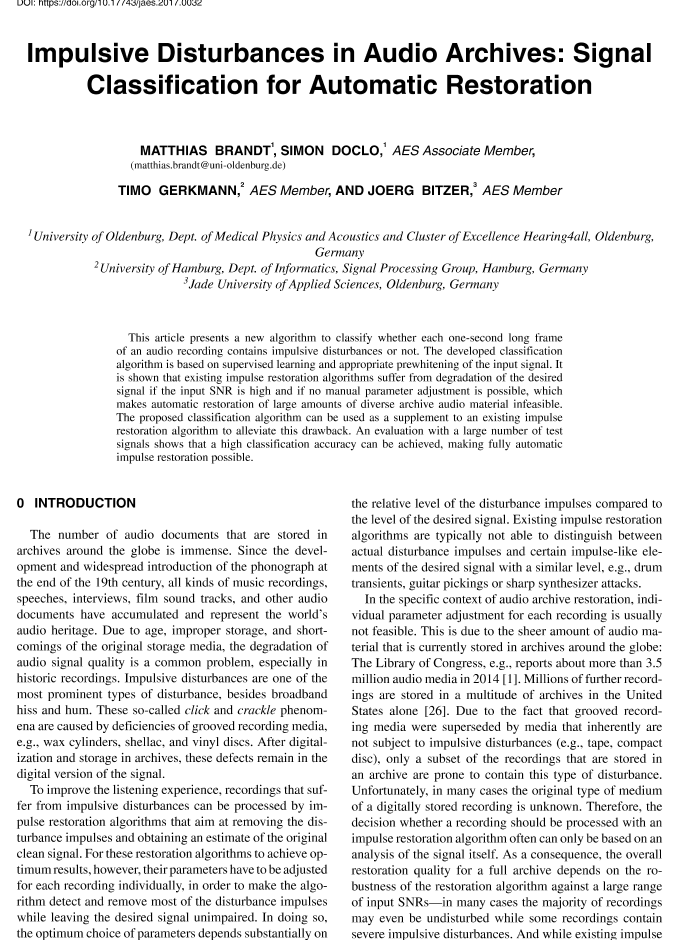 AES E-Library » Impulsive Disturbances in Audio Archives