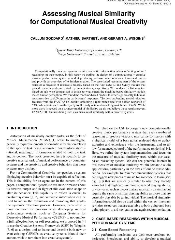 AES E-Library » Assessing Musical Similarity for