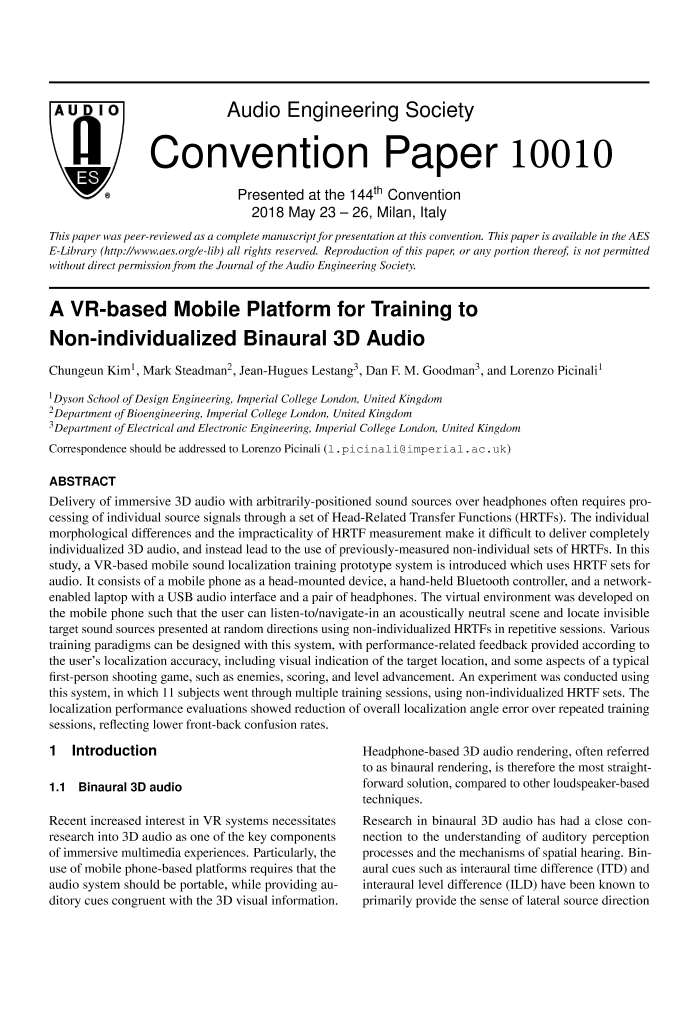 Aes E Library A Vr Based Mobile Platform For Training To Non Individualized Binaural 3d Audio