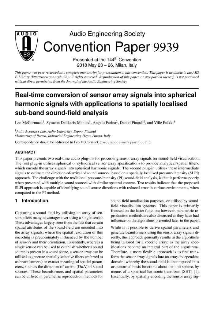 AES E-Library » Real-Time Conversion of Sensor Array Signals into