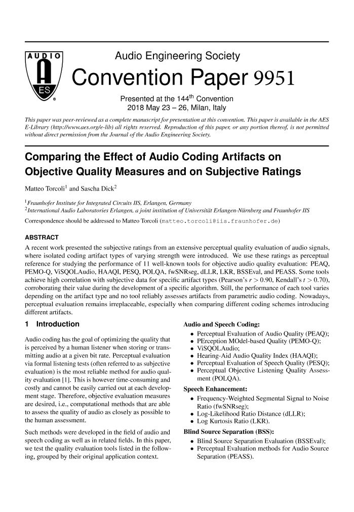 AES E-Library » Comparing the Effect of Audio Coding Artifacts on