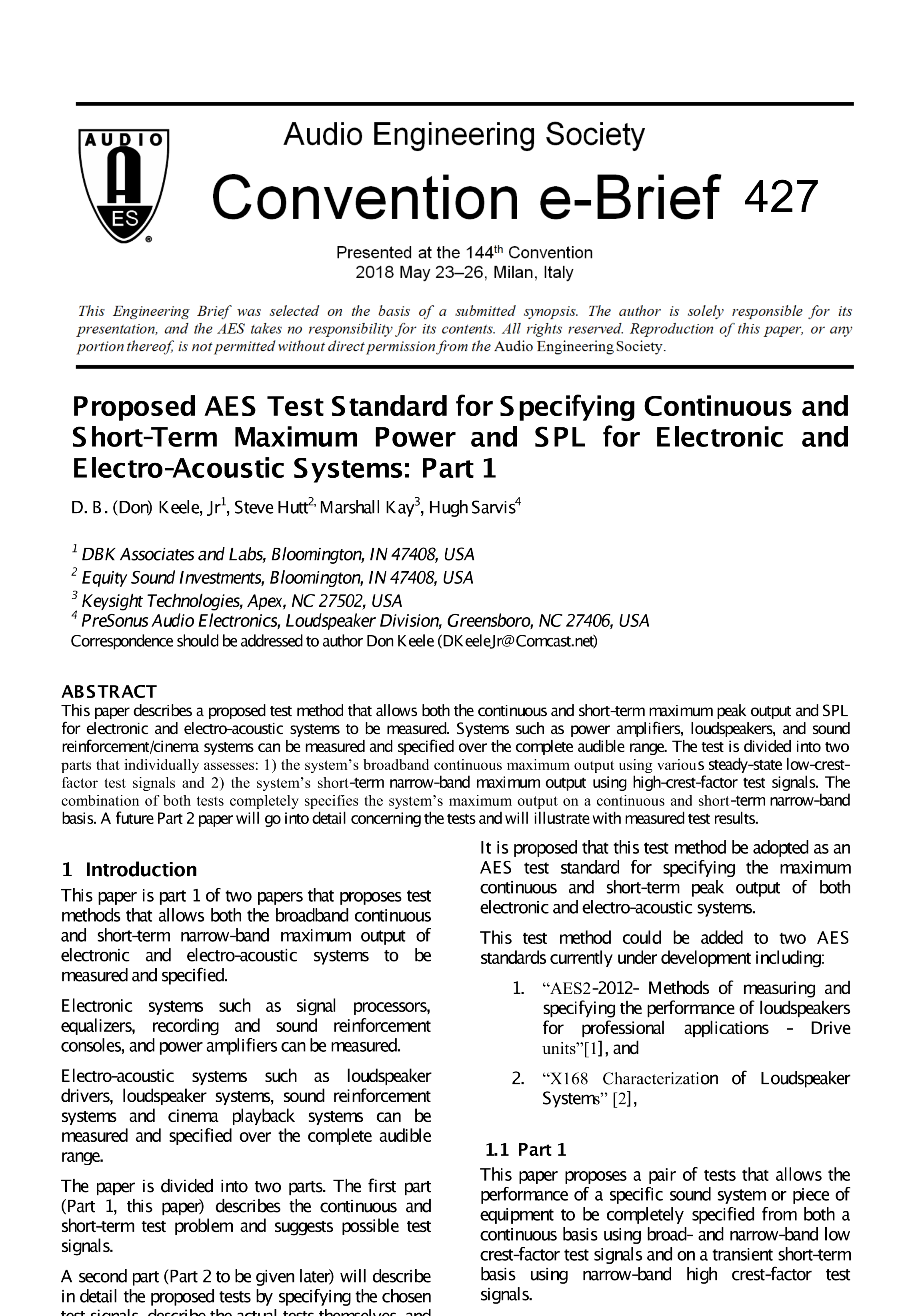AES E-Library » Proposed AES Test Standard for Specifying