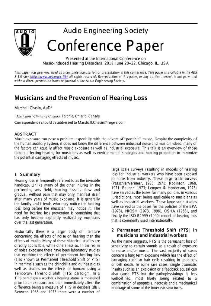 AES E-Library » Musicians and the Prevention of Hearing Loss
