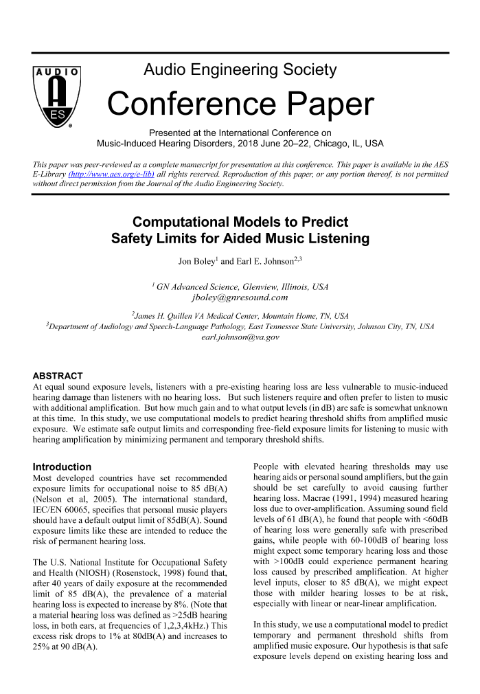 AES E-Library » Computational Models to Predict Safety Limits for