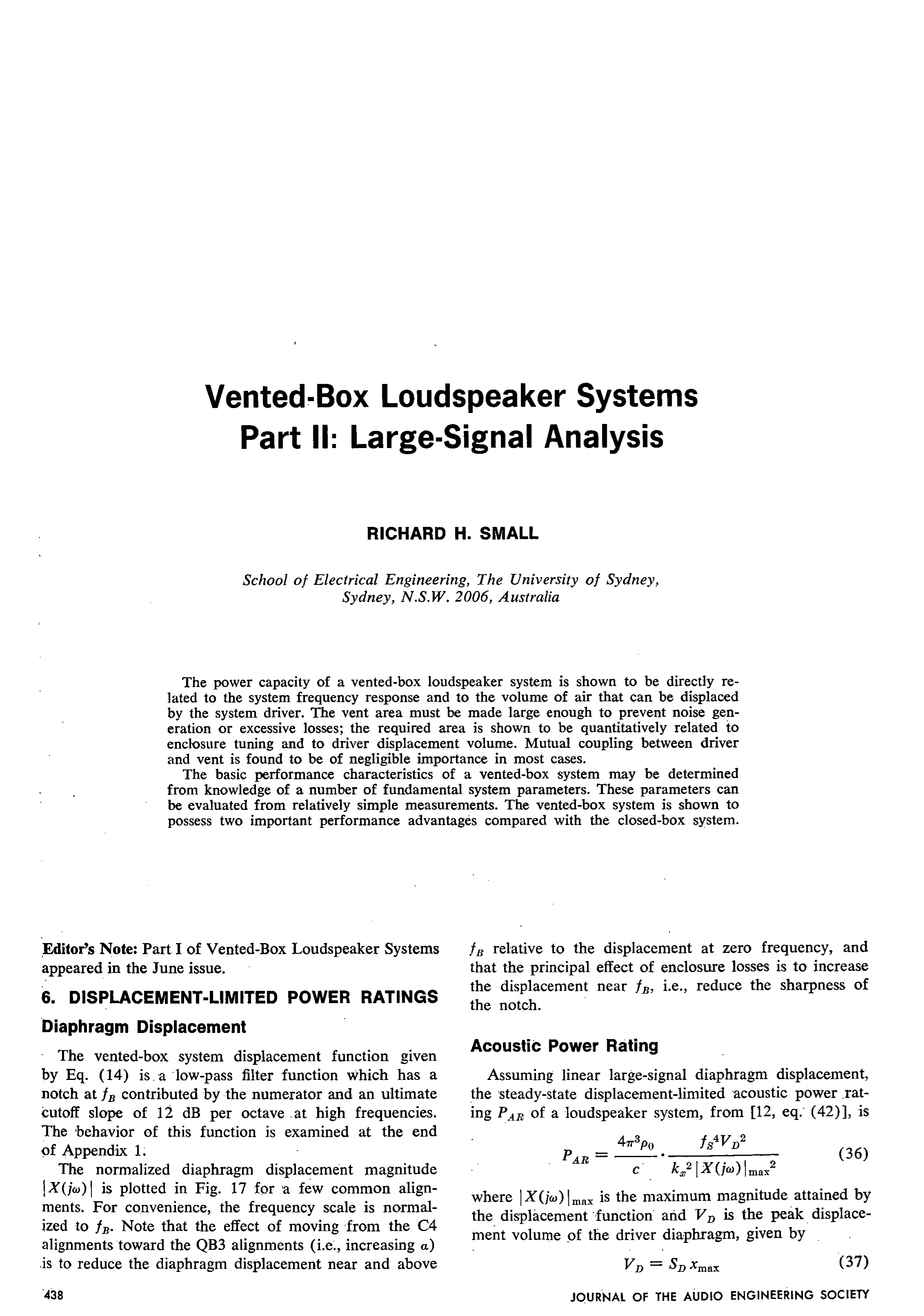 AES E Library Vented Box Loudspeaker Systems Part 2