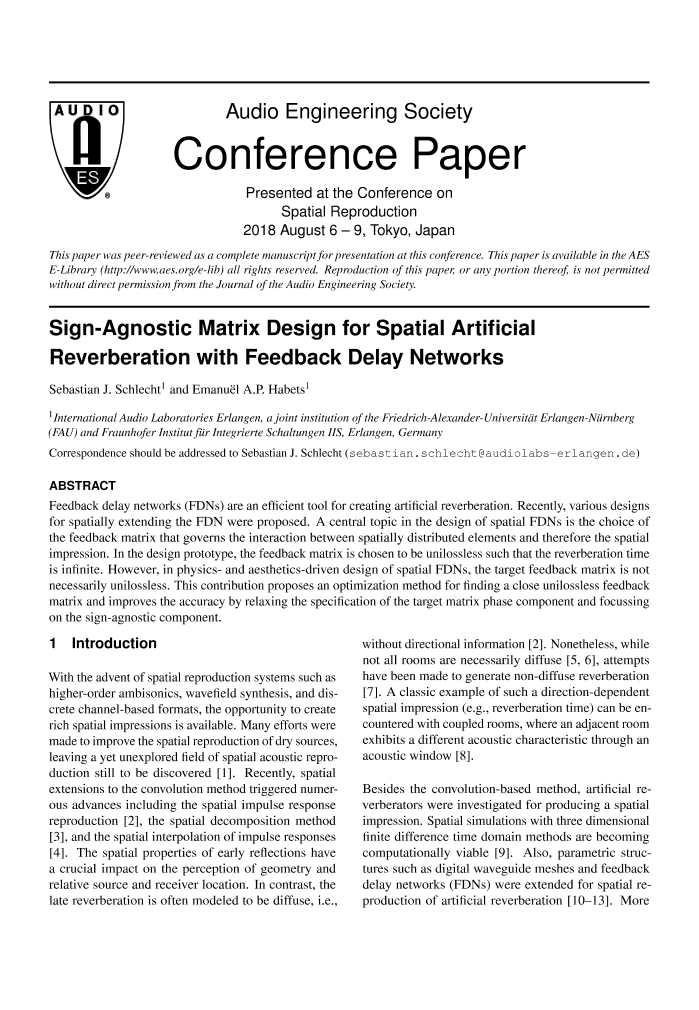 AES E-Library » Sign-Agnostic Matrix Design for Spatial
