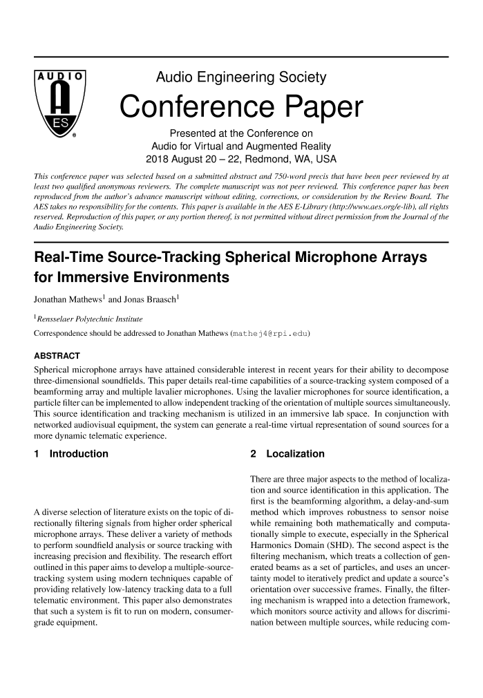AES E-Library » Real-Time Source-Tracking Spherical