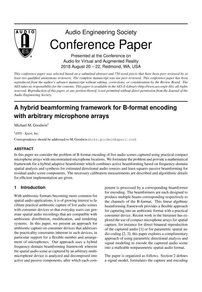 AES E-Library » A Hybrid Beamforming Framework for B-Format