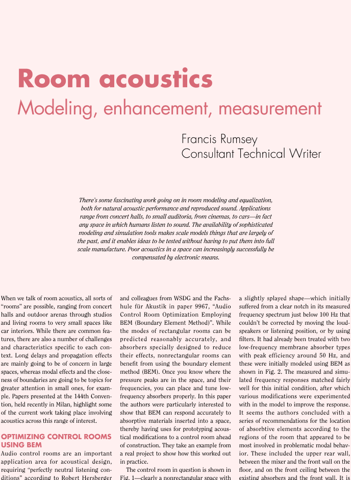 AES E-Library » Room Acoustics: Modeling, Enhancement