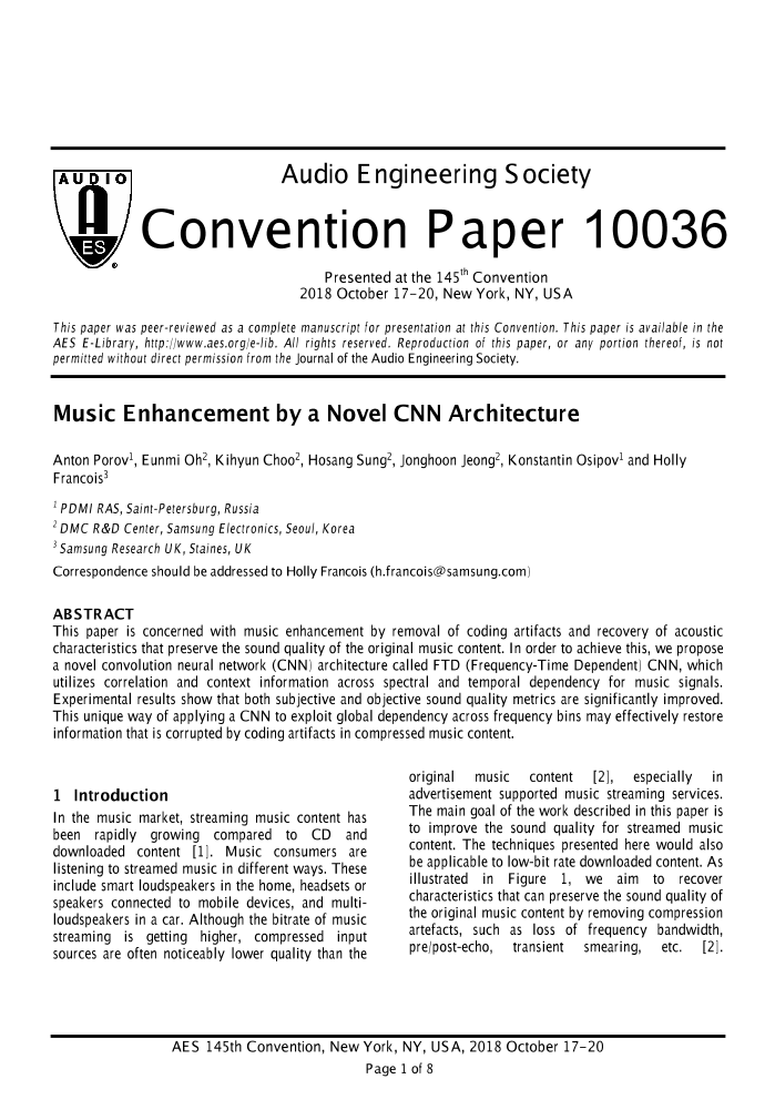 AES E-Library » Music Enhancement by a Novel CNN Architecture
