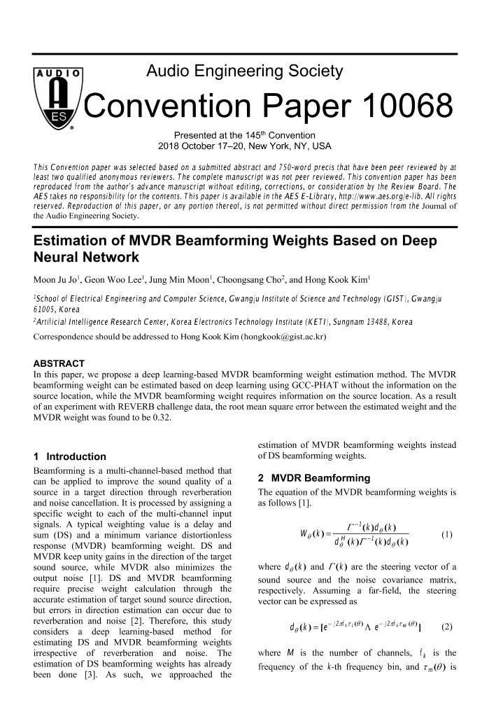 AES E-Library » Estimation of MVDR Beamforming Weights Based on Deep
