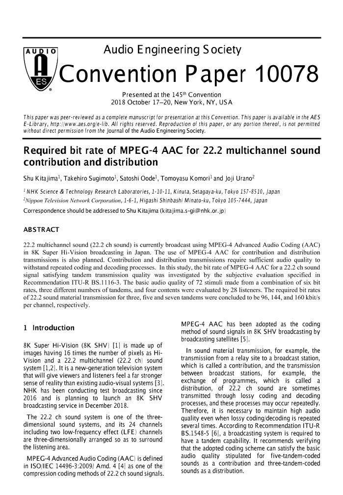 AES E-Library » Required Bit Rate of MPEG-4 AAC for 22 2