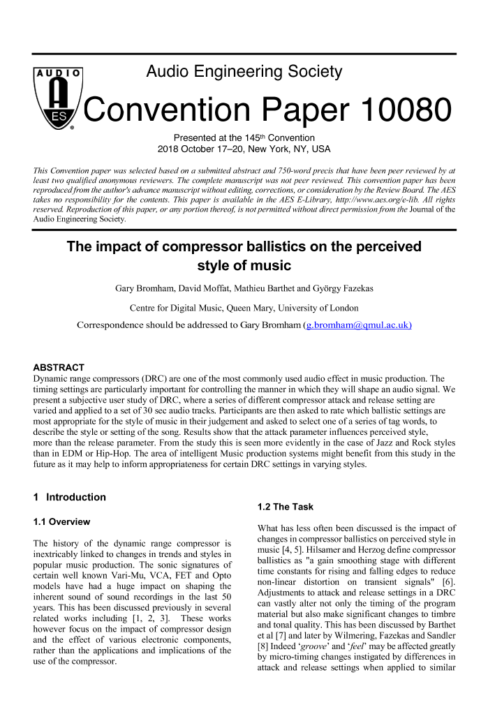 AES E-Library » The Impact of Compressor Ballistics on the