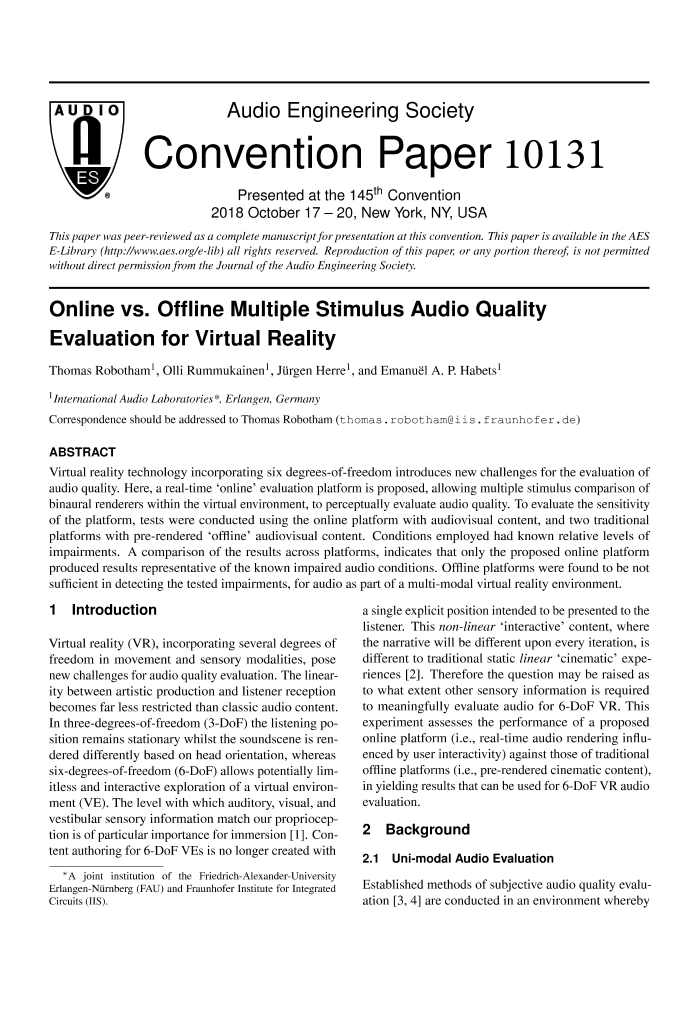 AES E-Library » Online vs  Offline Multiple Stimulus Audio Quality