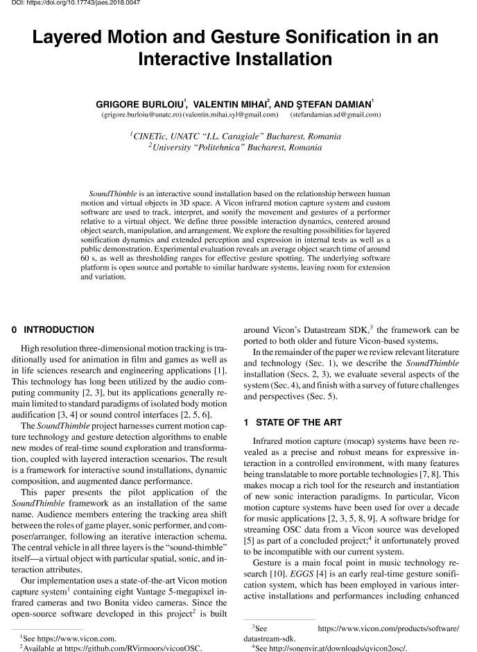 AES E-Library » Layered Motion and Gesture Sonification in