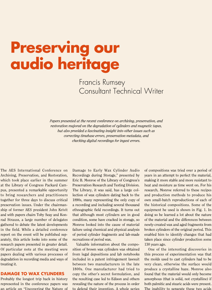 AES E-Library » Preserving Our Audio Heritage
