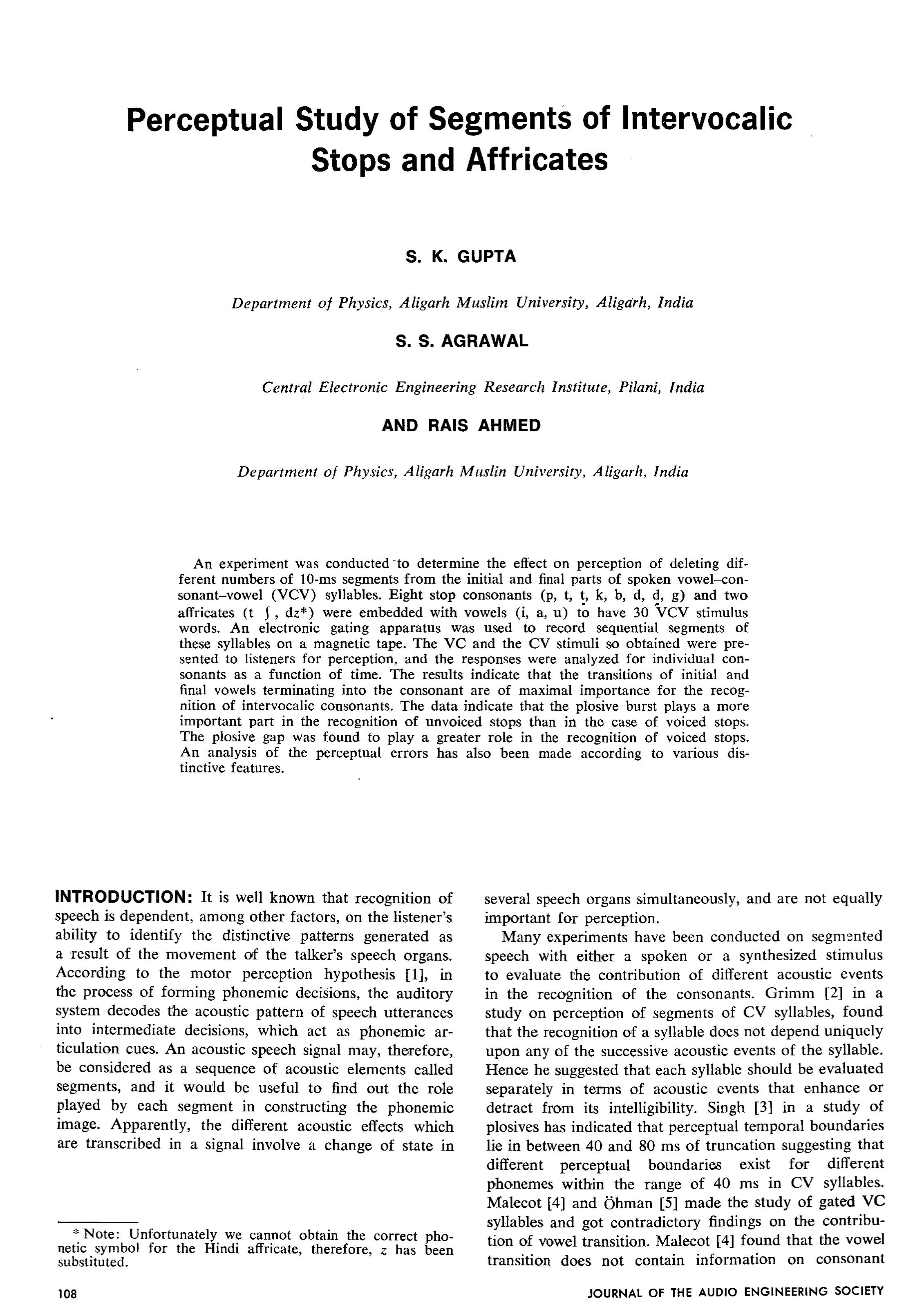 Aes E Library Perceptual Study Of Segments Of Intervocalic Stops