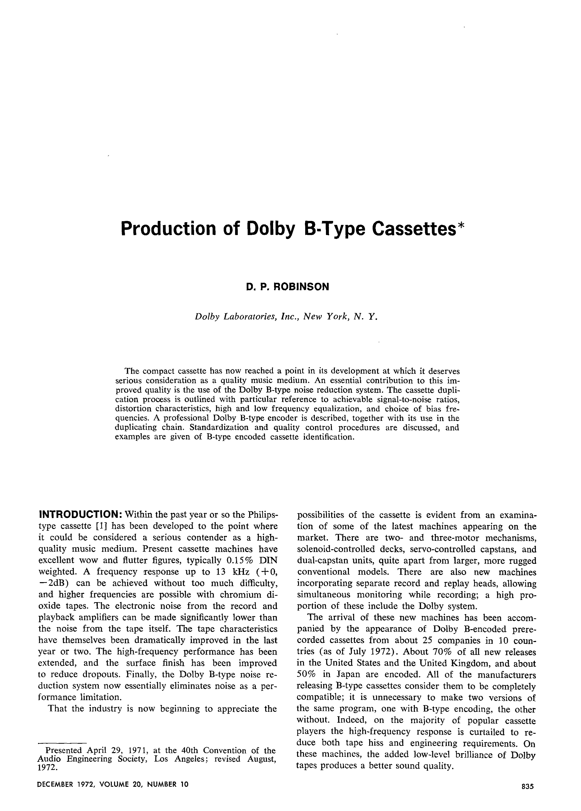 Aes E Library Production Of Dolby B Type Cassettes Ground Monitor C120 Wiring Diagram