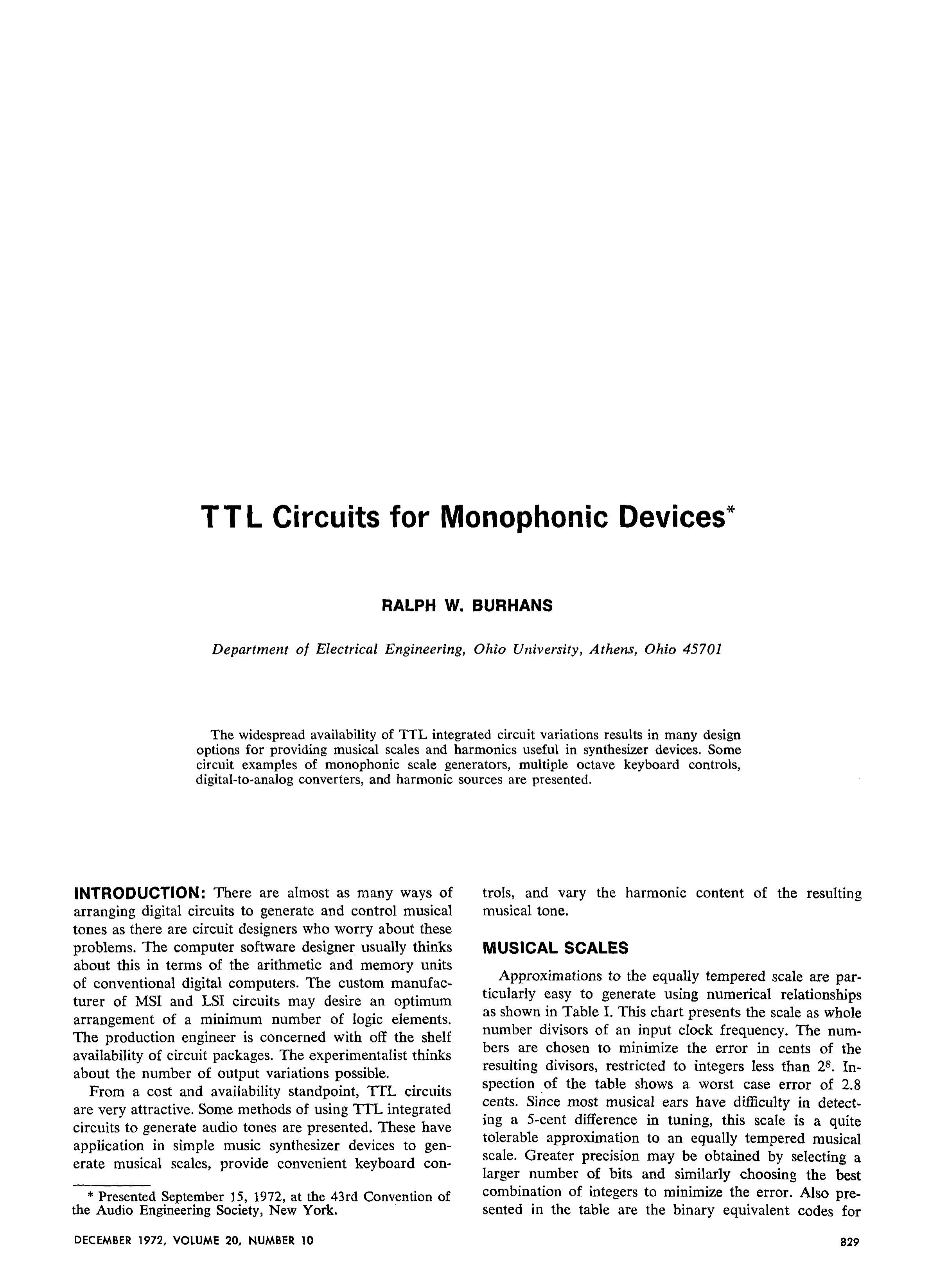 Aes E Library Ttl Circuits For Monophonic Devices This Is A Transistor Logic Or Gate Circuit Using