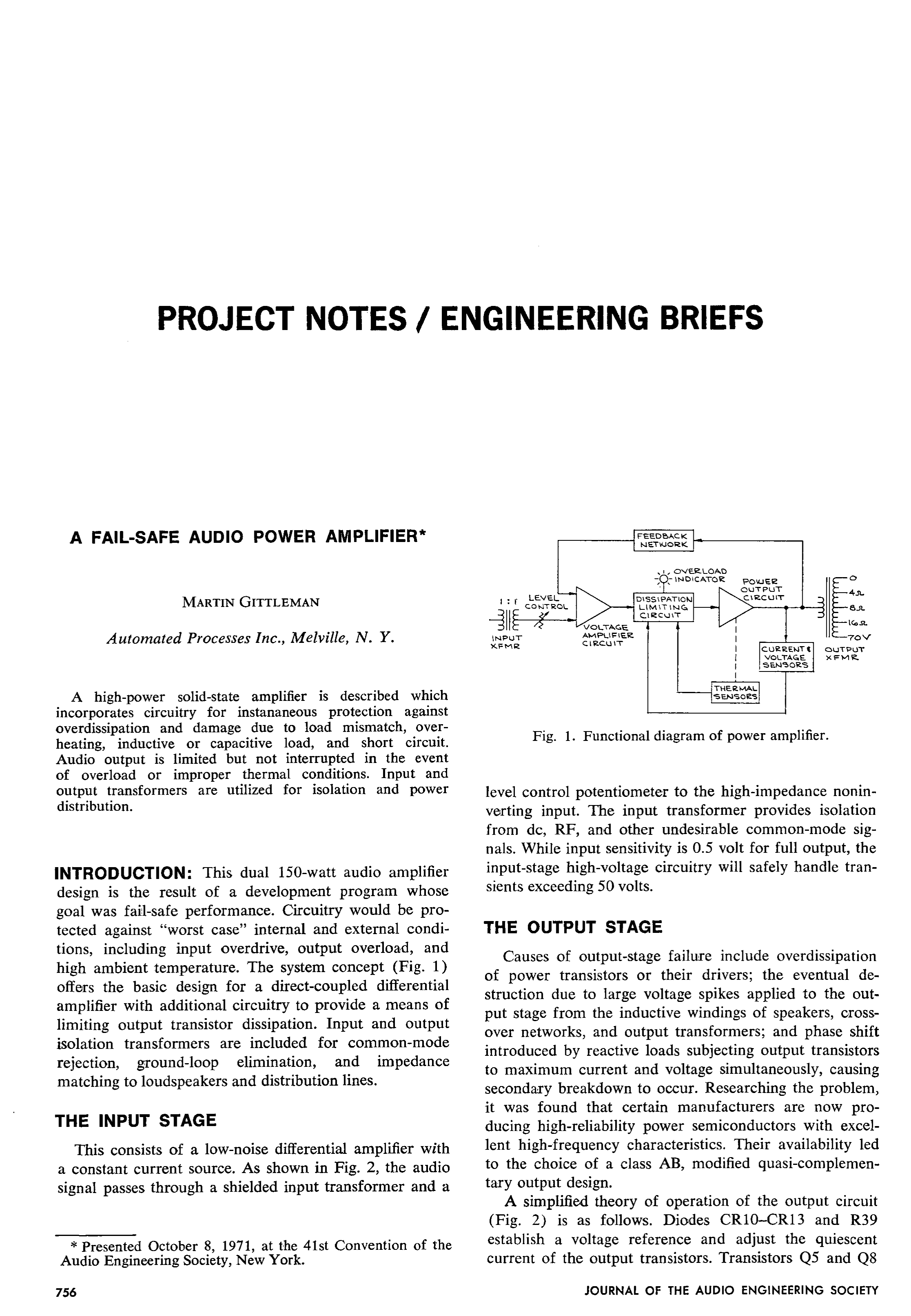 Aes E Library A Fail Safe Audio Power Amplifier Currentlimiting Supply With Reference Circuit Diagram