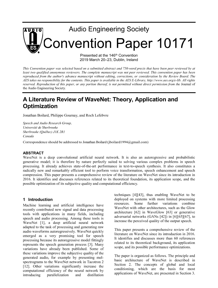 AES E-Library » A Literature Review of WaveNet: Theory